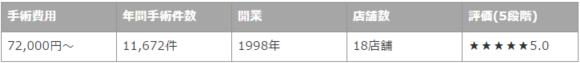 上野クリニックの施術実績数の詳細